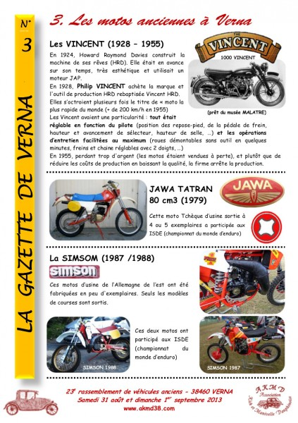 LA GAZETTE DE VERNA 3 (motos)